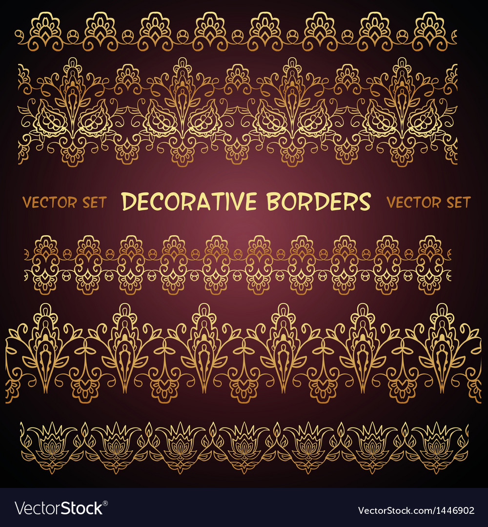 Golden decorative floral seamless borders vector