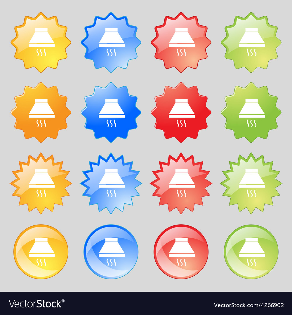 Kitchen hood icon sign big set of 16 colorful vector