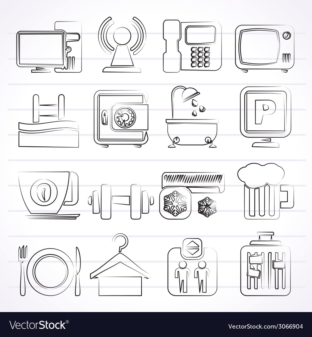 Hotel amenities services icons vector