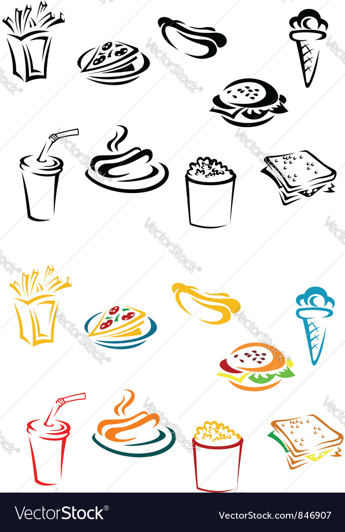 Fast food elements vector