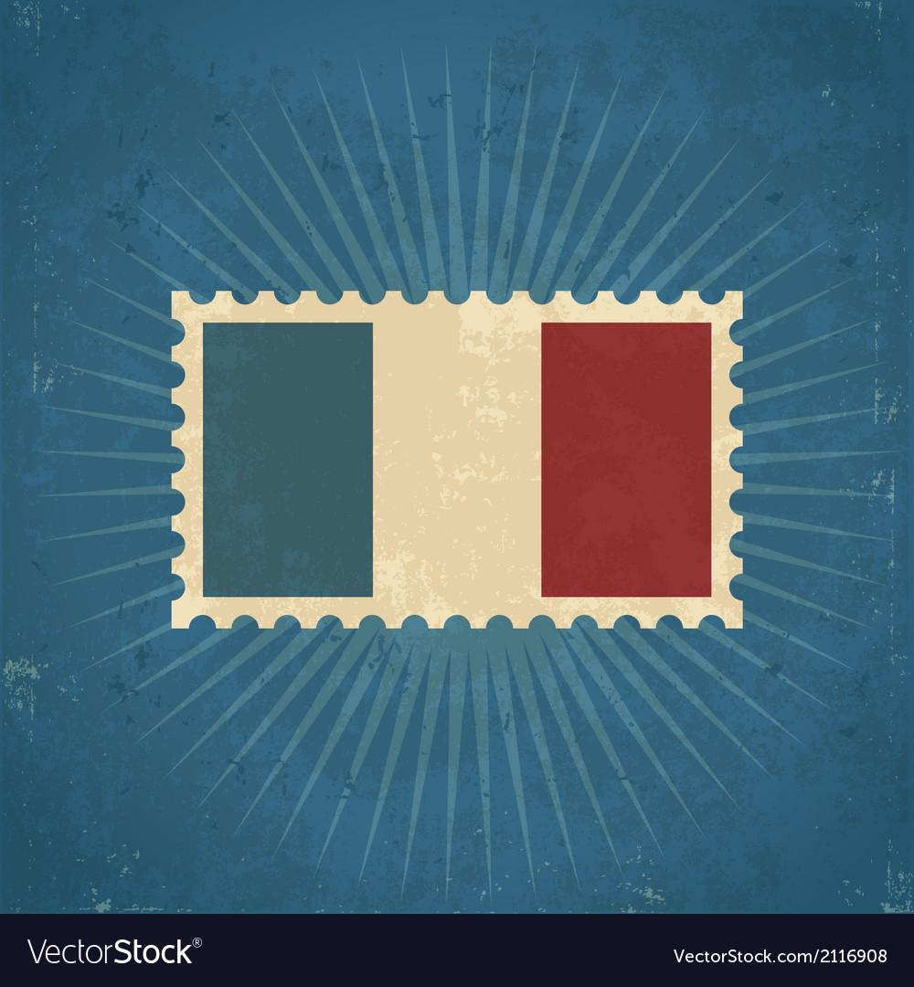 Retro france flag postage stamp vector
