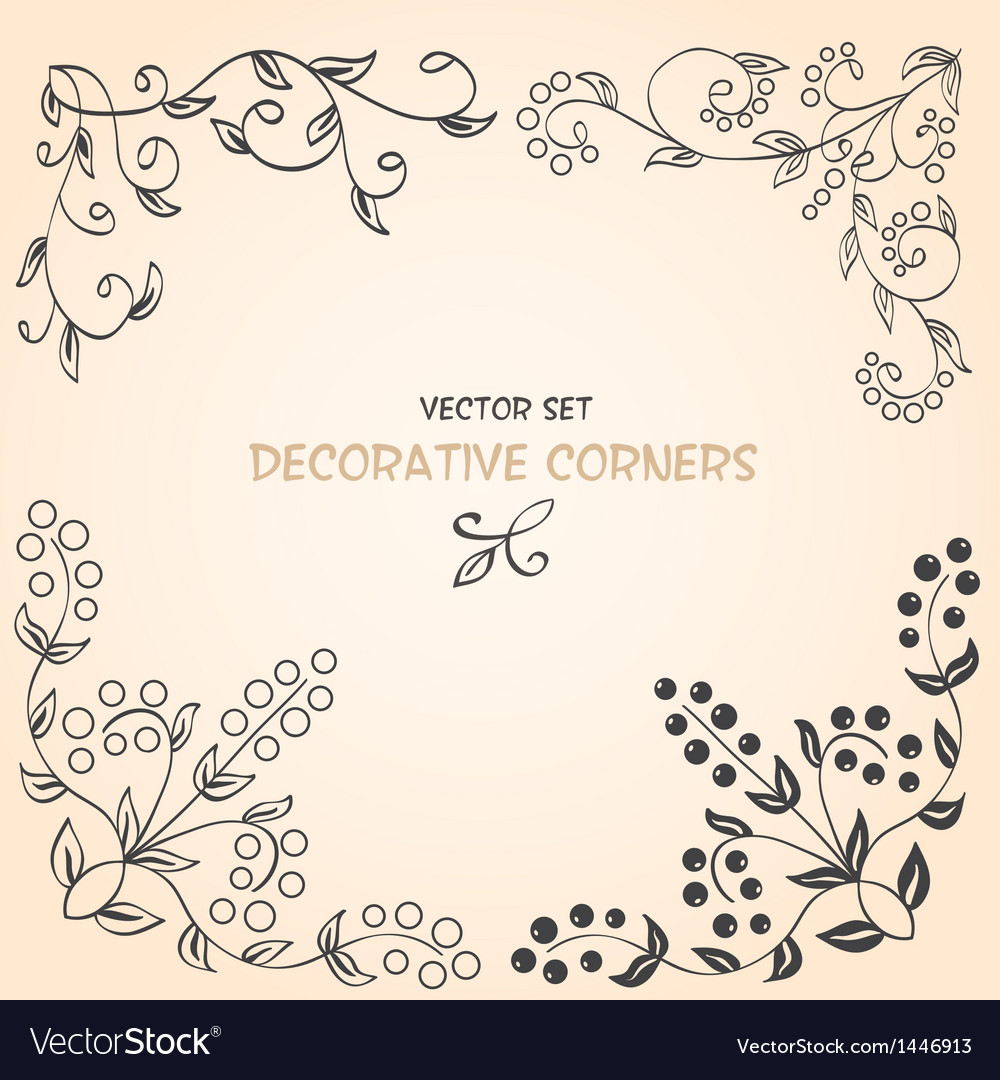 Decorative floral corners vector