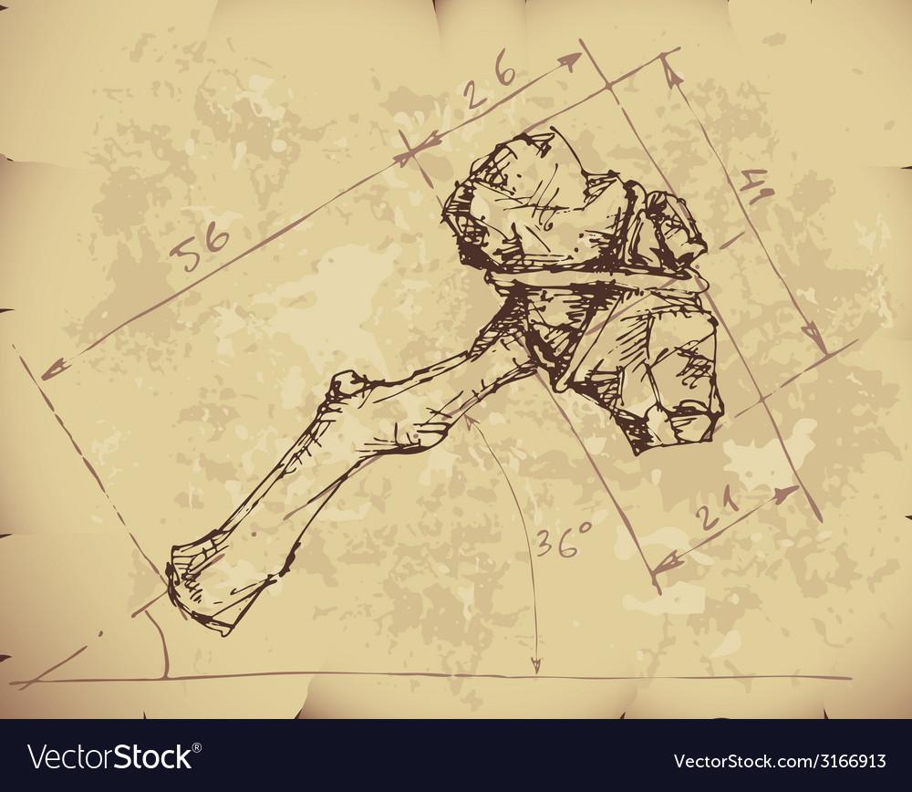 Stone axe draft vector