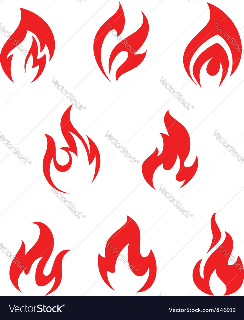 Set of red fire flames vector