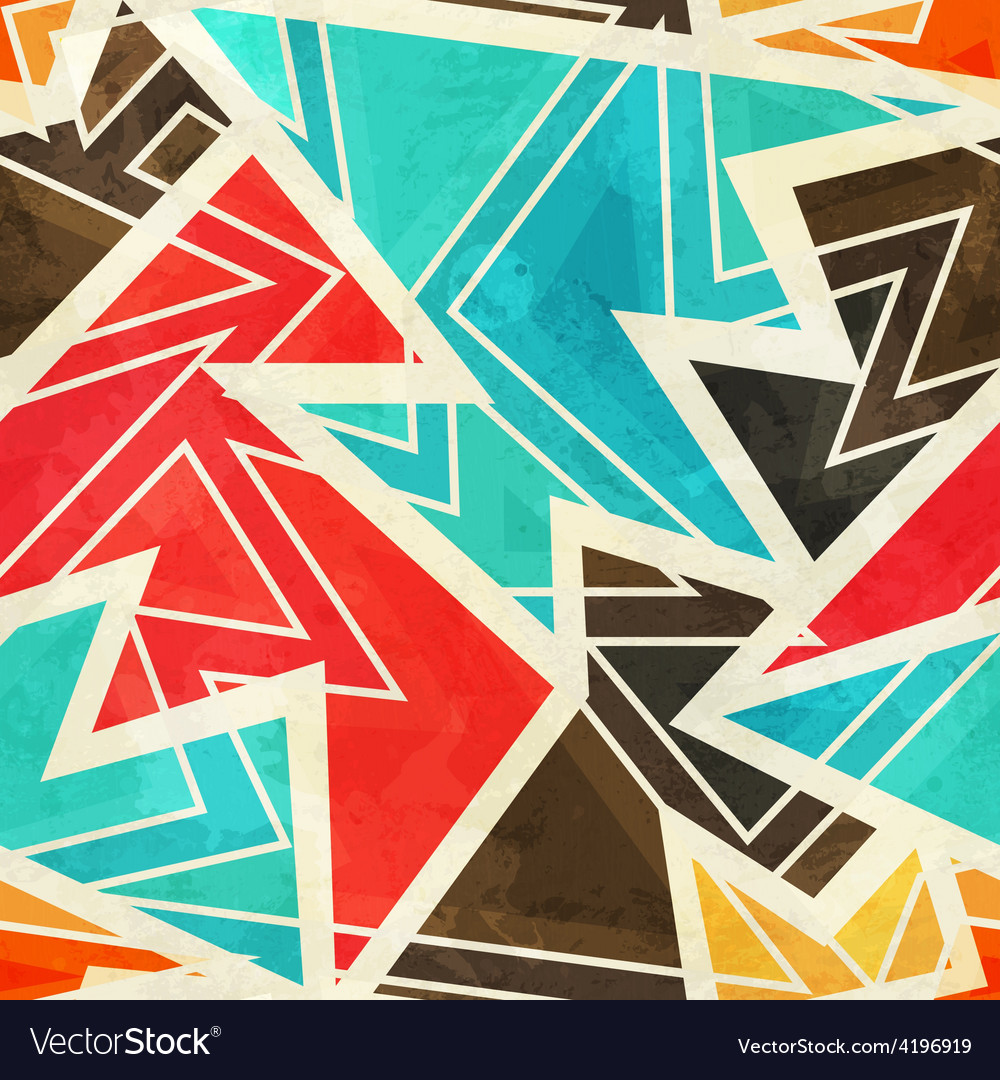 Youth geometric seamless pattern with grunge vector