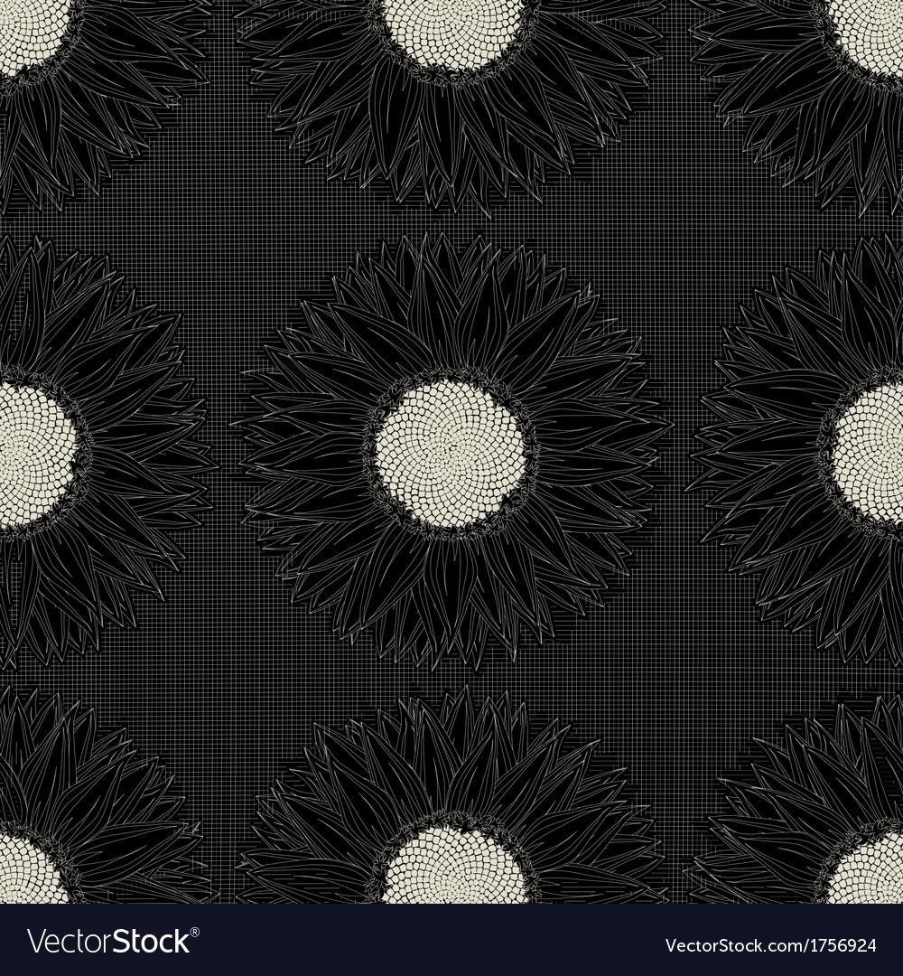 Grunge sunflower pattern vector