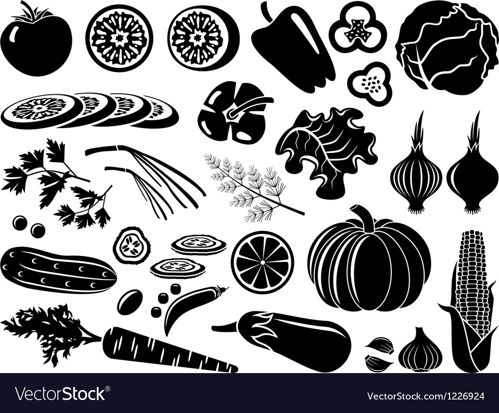 Set of icons of vegetables vector
