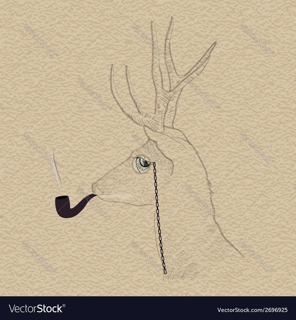 Hipster reindeer smoking tobacco pipe vector