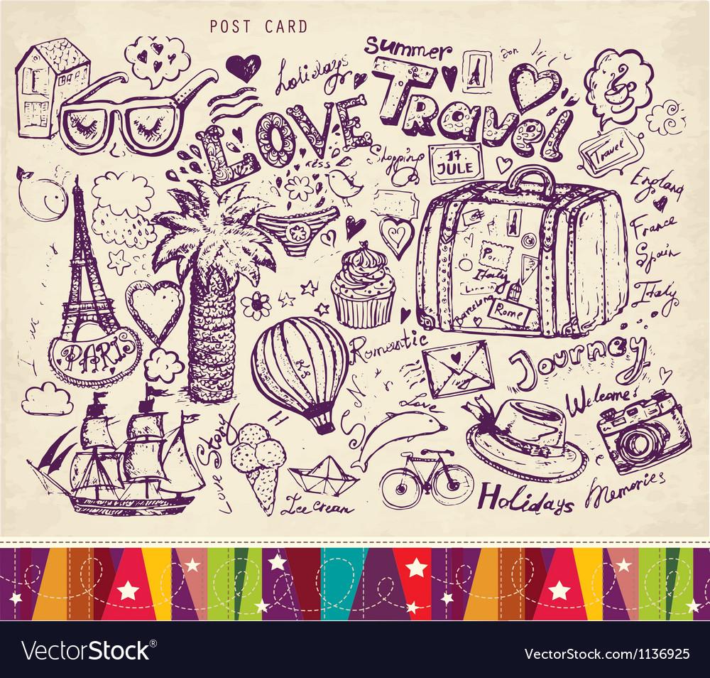 Travel postcard vector