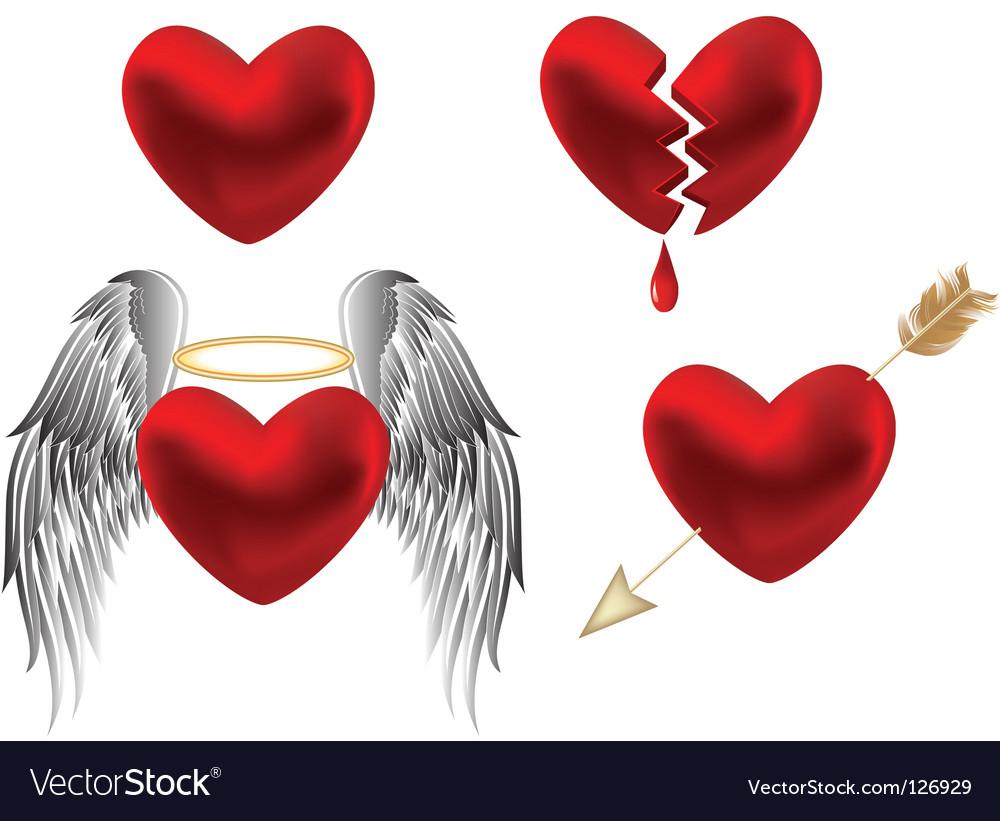 Set of hearts design vector