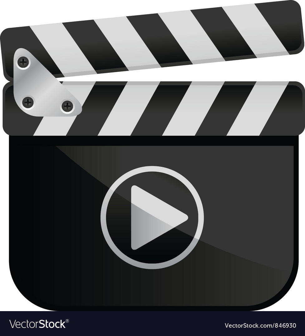 Movie media player film slate vector