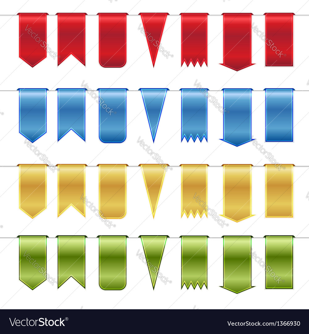 Set of red blue gold and green glossy ribbons vector