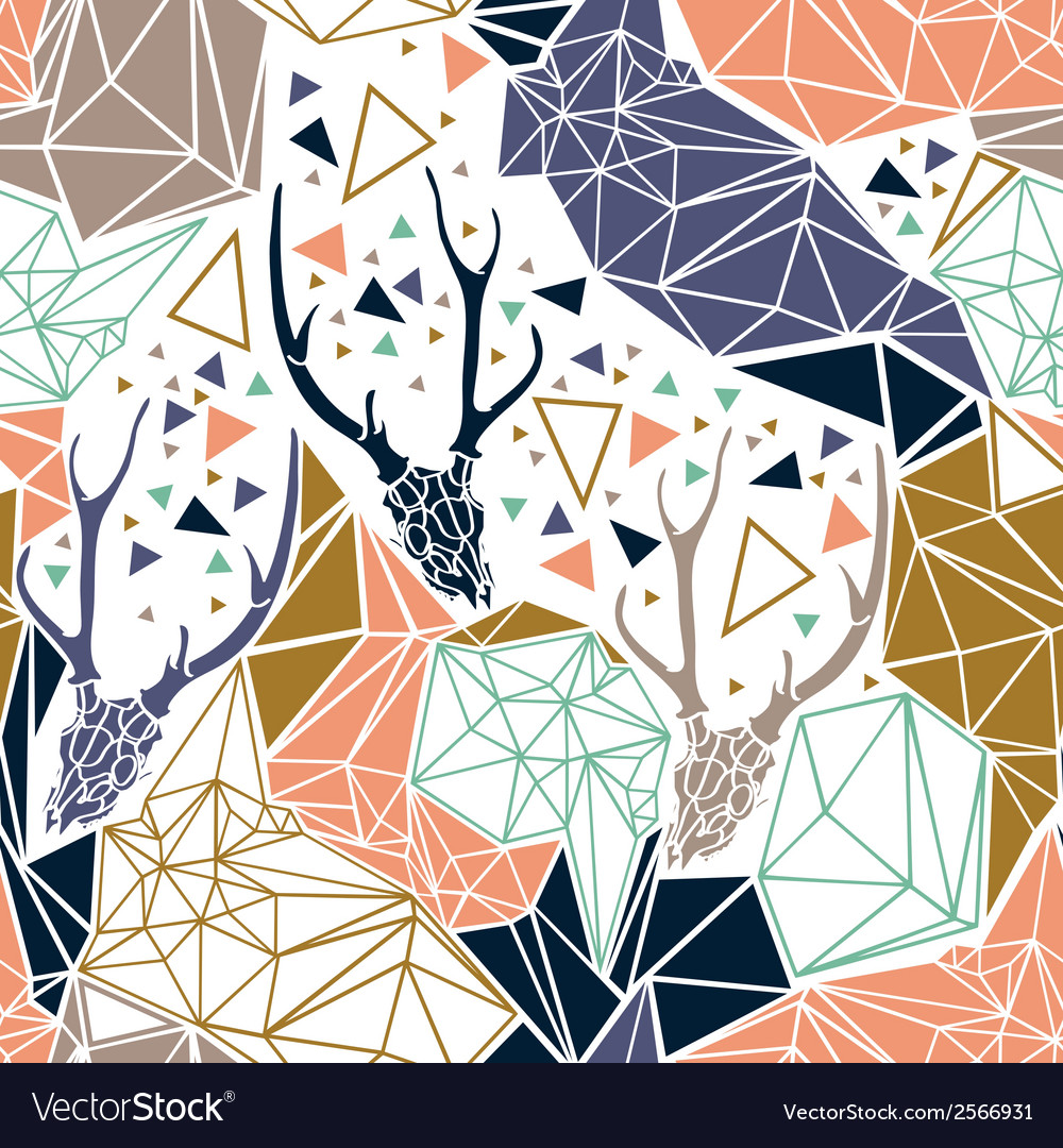 Deer skeleton with geometric polygonal ornament vector