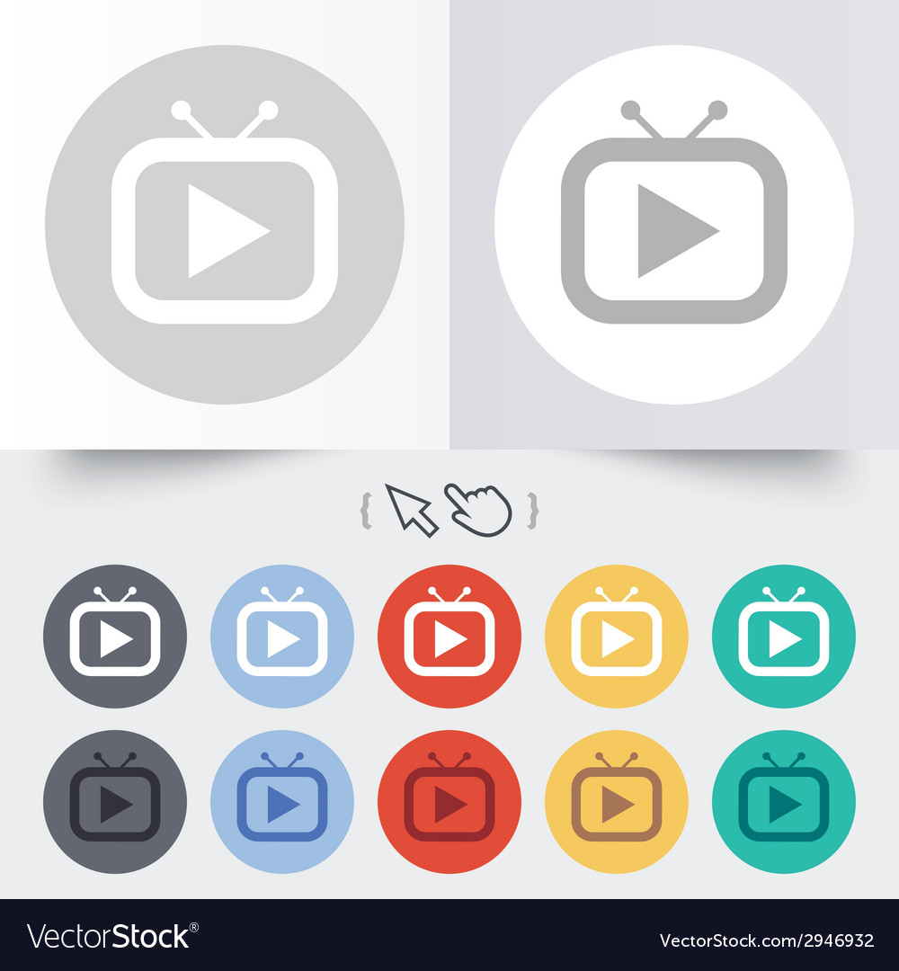 Retro tv mode sign icon television set symbol vector