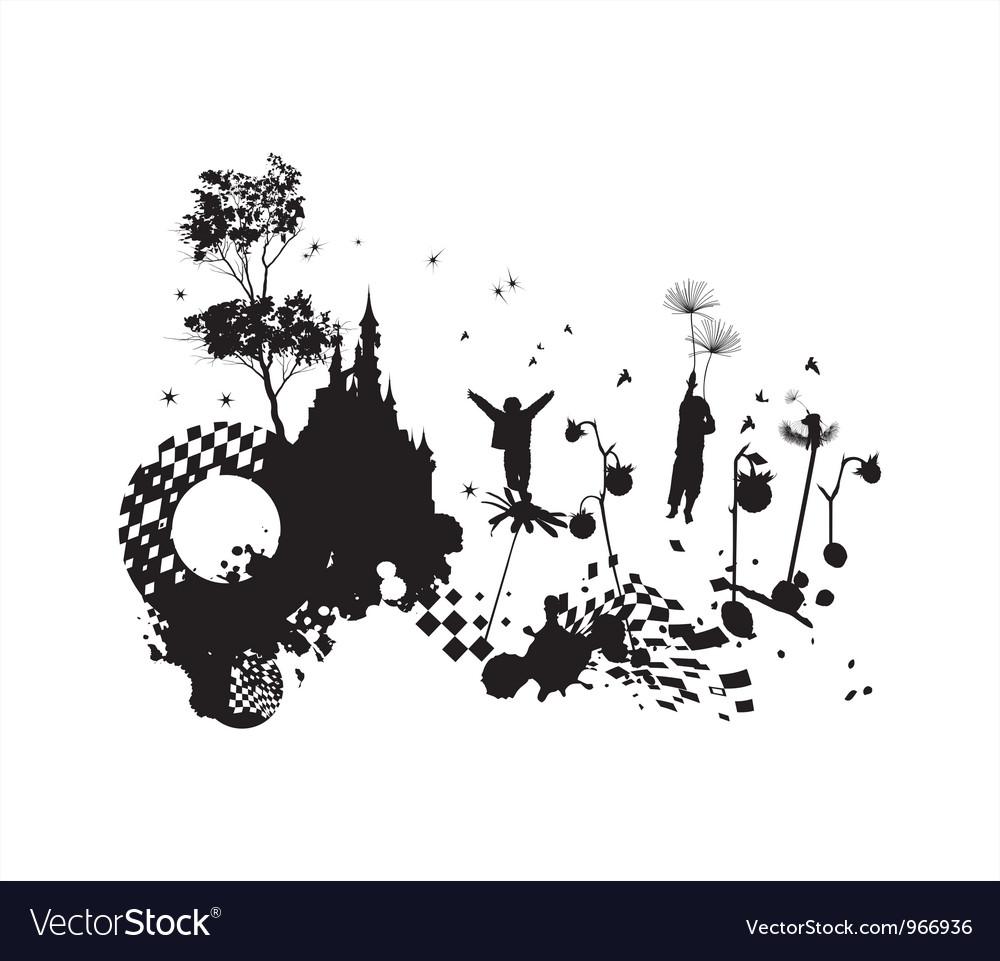 Children fantasy grunge concept vector