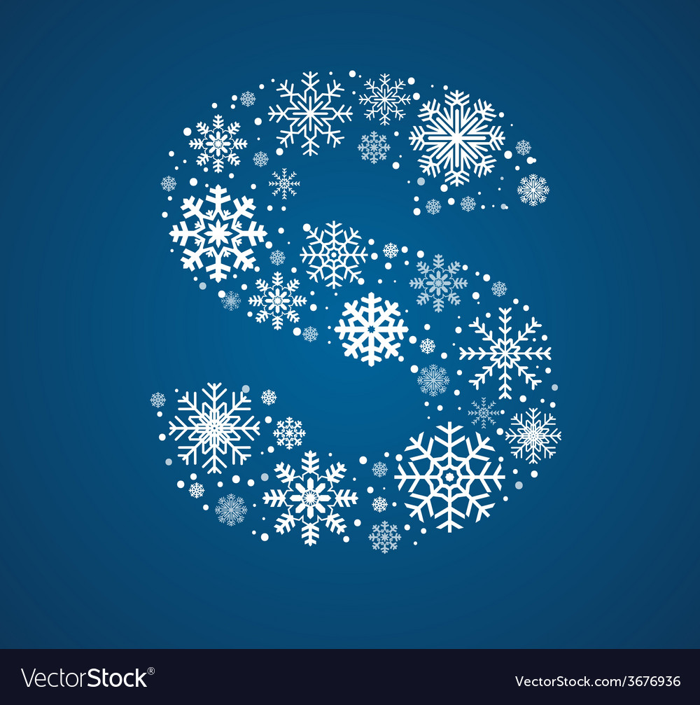 Letter s font frosty snowflakes vector