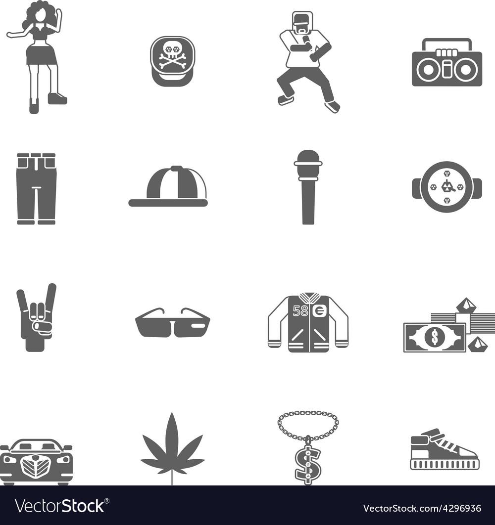 Rap music icons vector