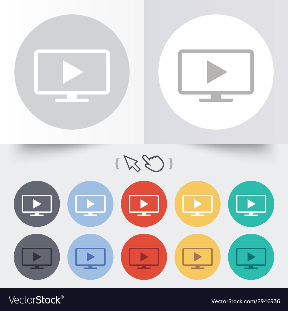 Widescreen tv mode sign icon television set vector