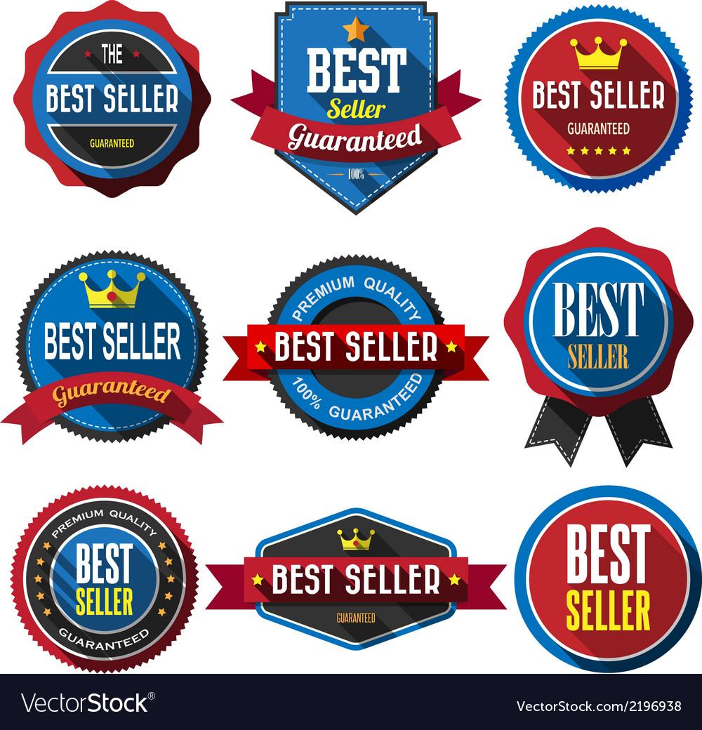 Best seller retro vintage badges and labels flat d vector