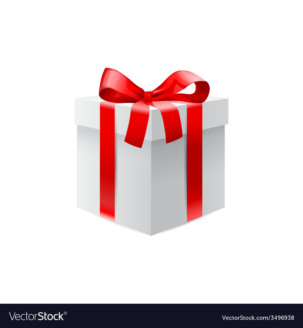 Gift box with red ribbon bow vector