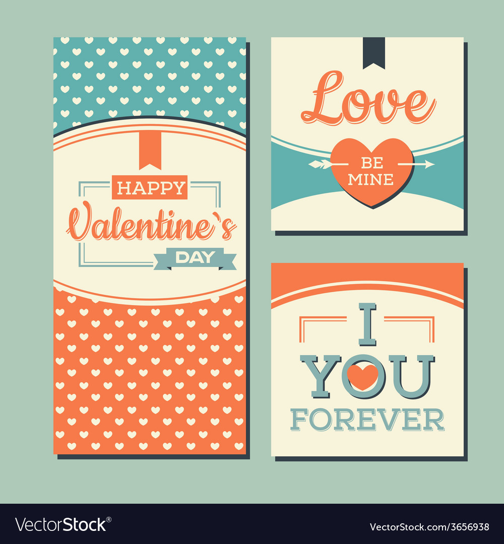 Vintage happy valentines day and weeding cards vector