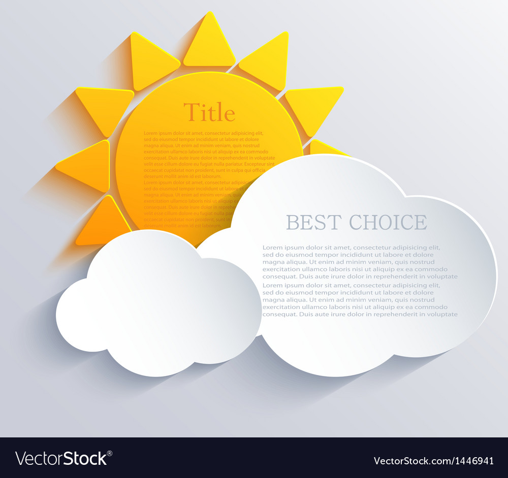 Sun with clouds background eps10 vector