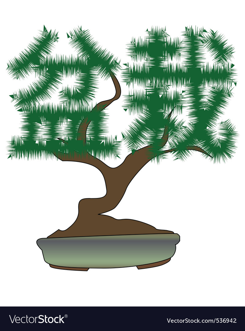 Japanese bonsai tree in the form of hieroglyphs on vector