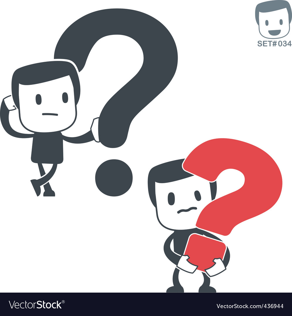 Question icon man set vector