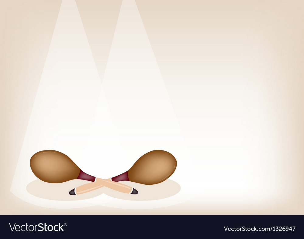 Two beautiful maracas on brown stage background vector