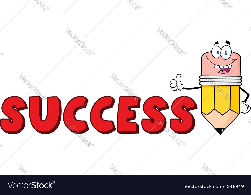 Cartoon success pencil school vector
