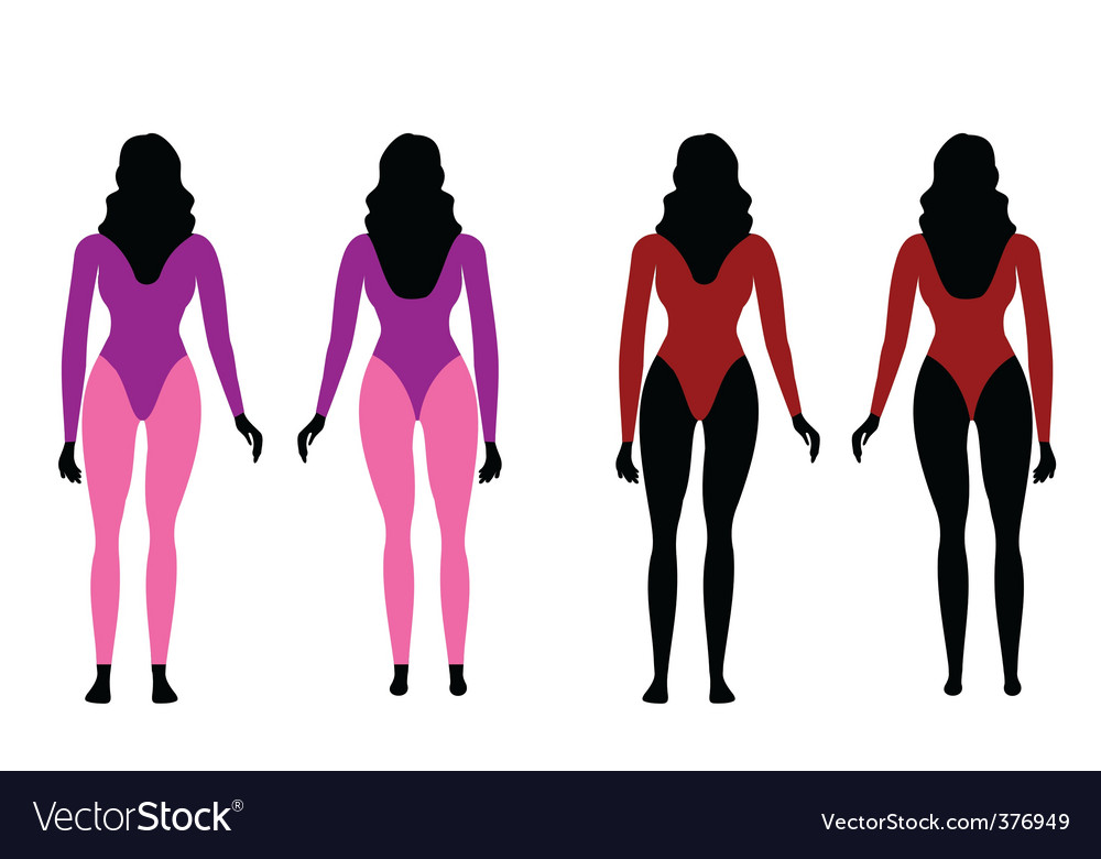 Silhouettes of women in sportswear vector