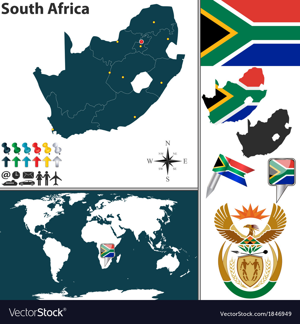 South africa map world vector