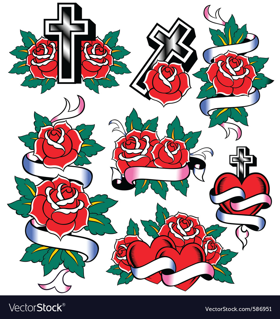 Cross and rose design vector