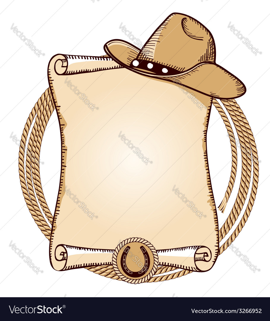 Cowboy hat and lasso american vector