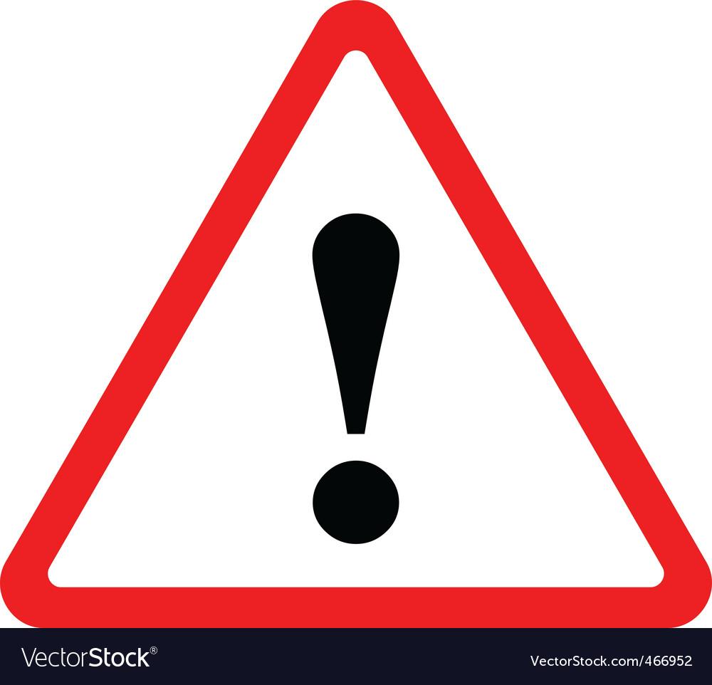Triangular warning sign vector