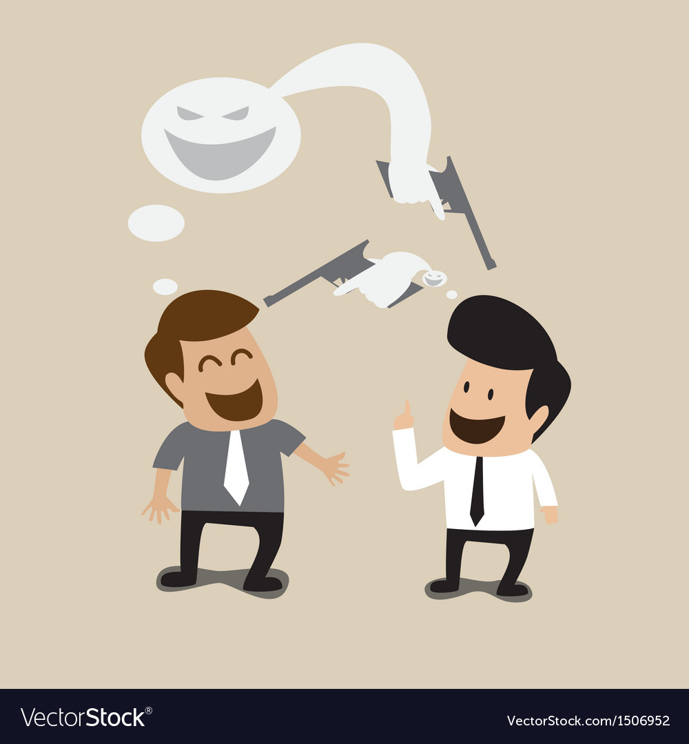 Two businessman talking with bad intention vector