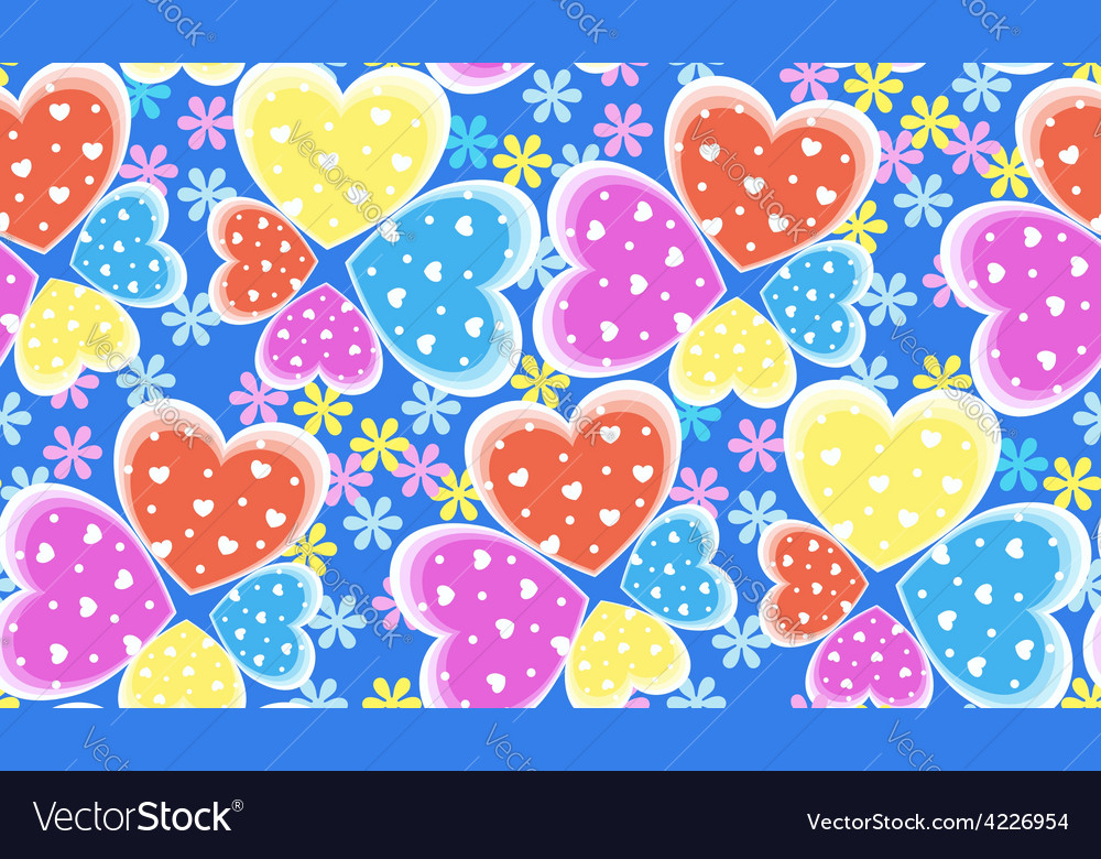 Seamless candy color hearts pattern valentines vector