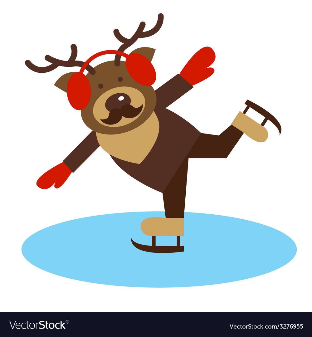 Deer on the skates vector