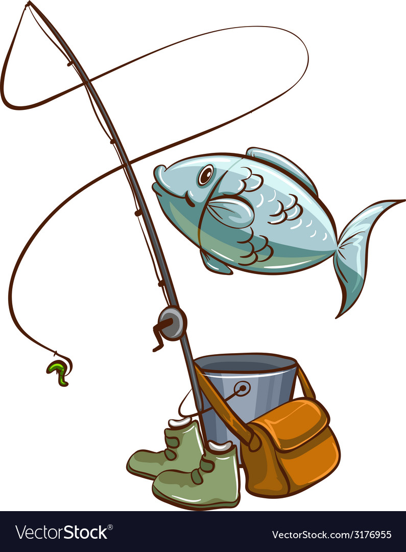 Fishing equipments vector