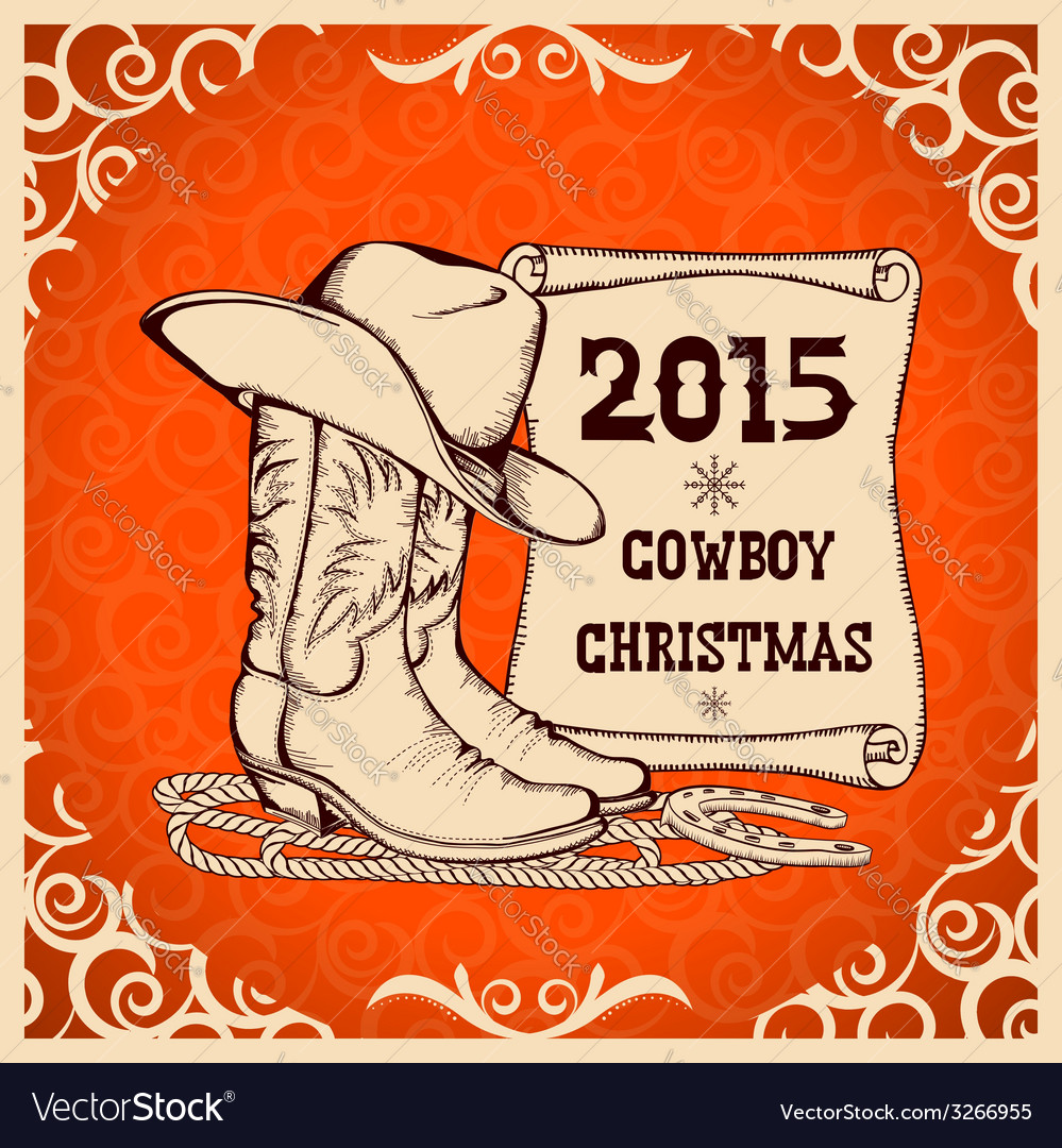 Western new year greeting card with cowboy vector