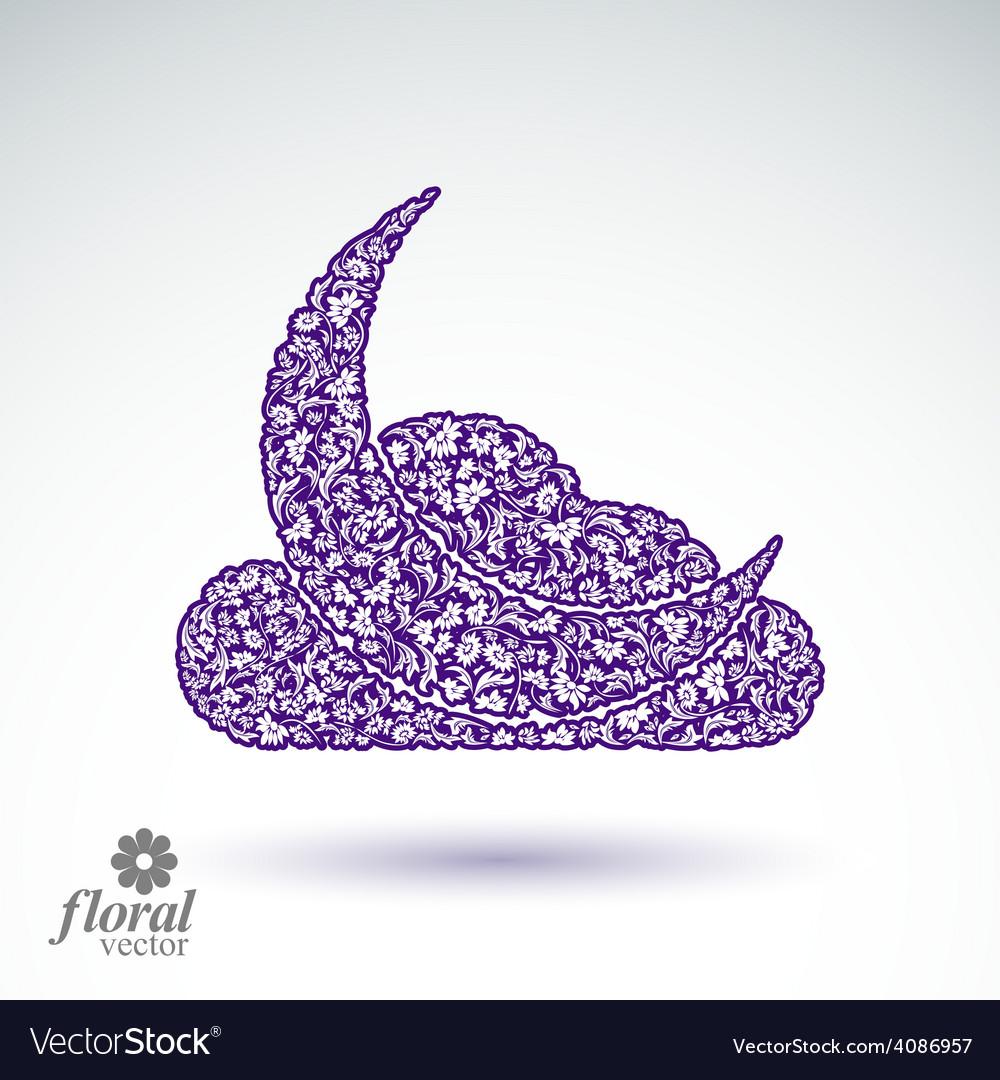 A new moon behind a cloud beautiful art floral vector