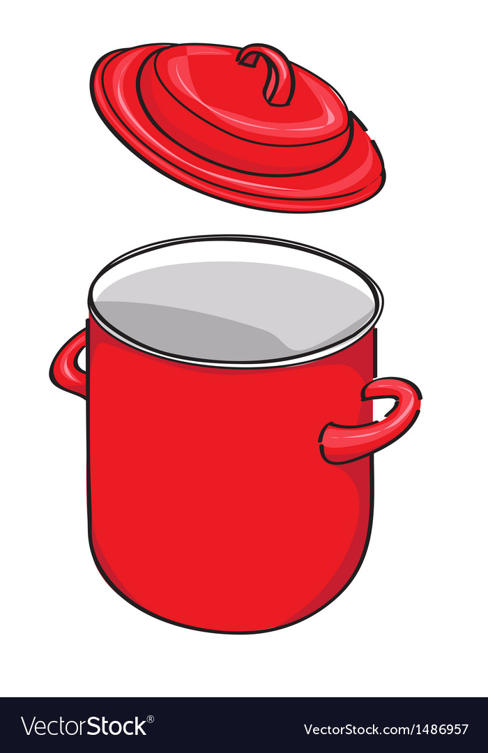 Pot and lid isolated vector