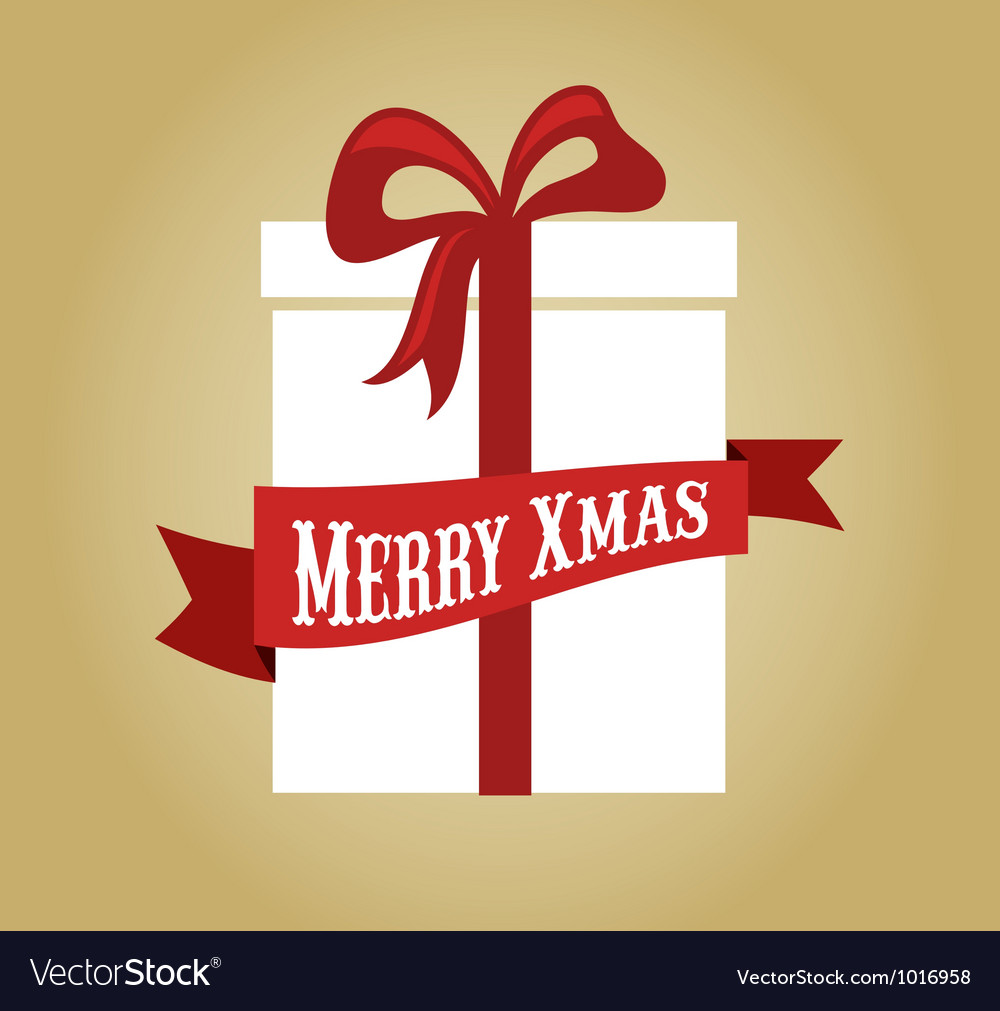 Christmas gift box with ribbon and bow vector