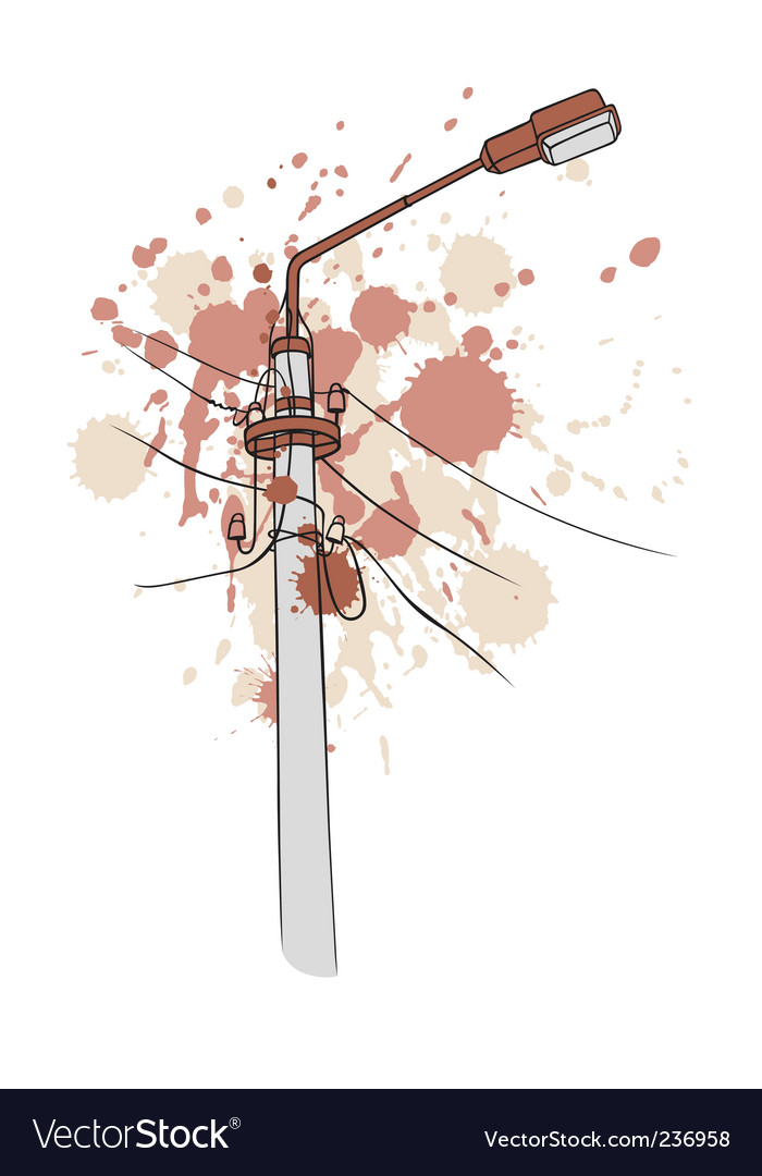 Grunge pillar lamp vector