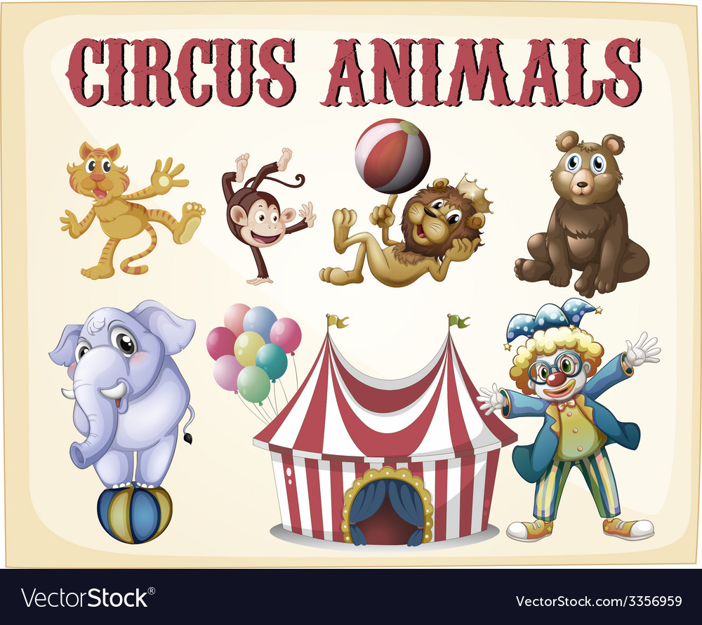 Circus animals vector