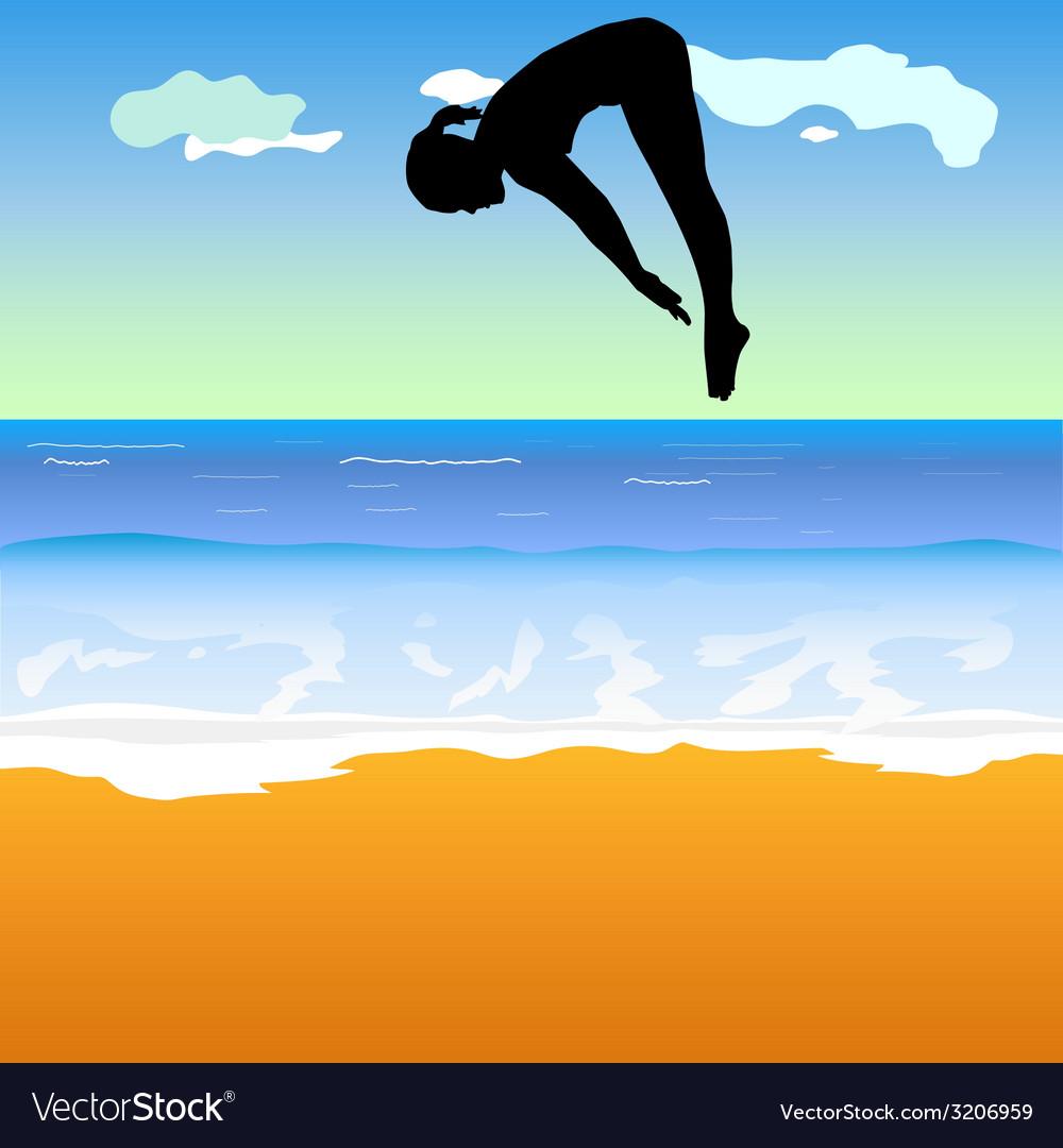 Girl jump into the sea vector