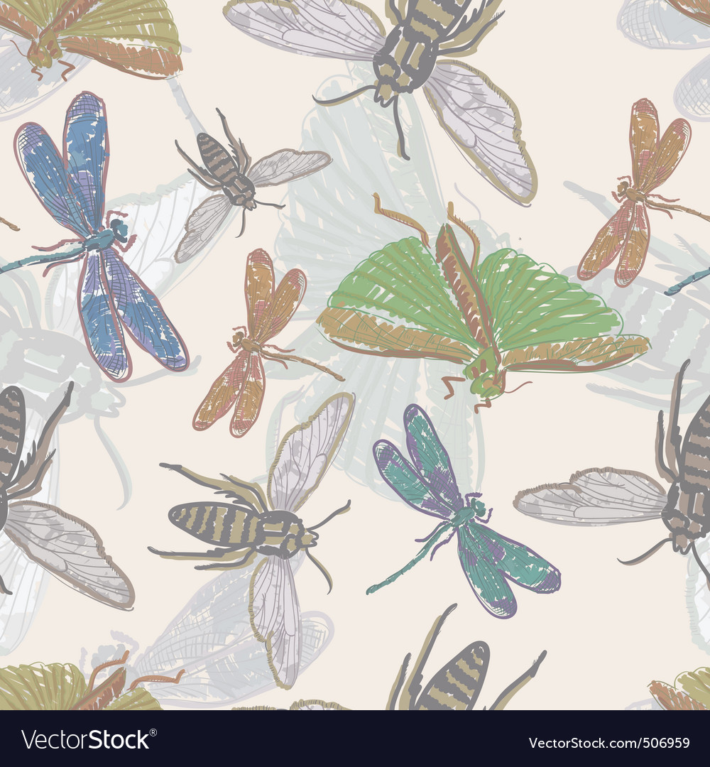 seamless background with insects vector