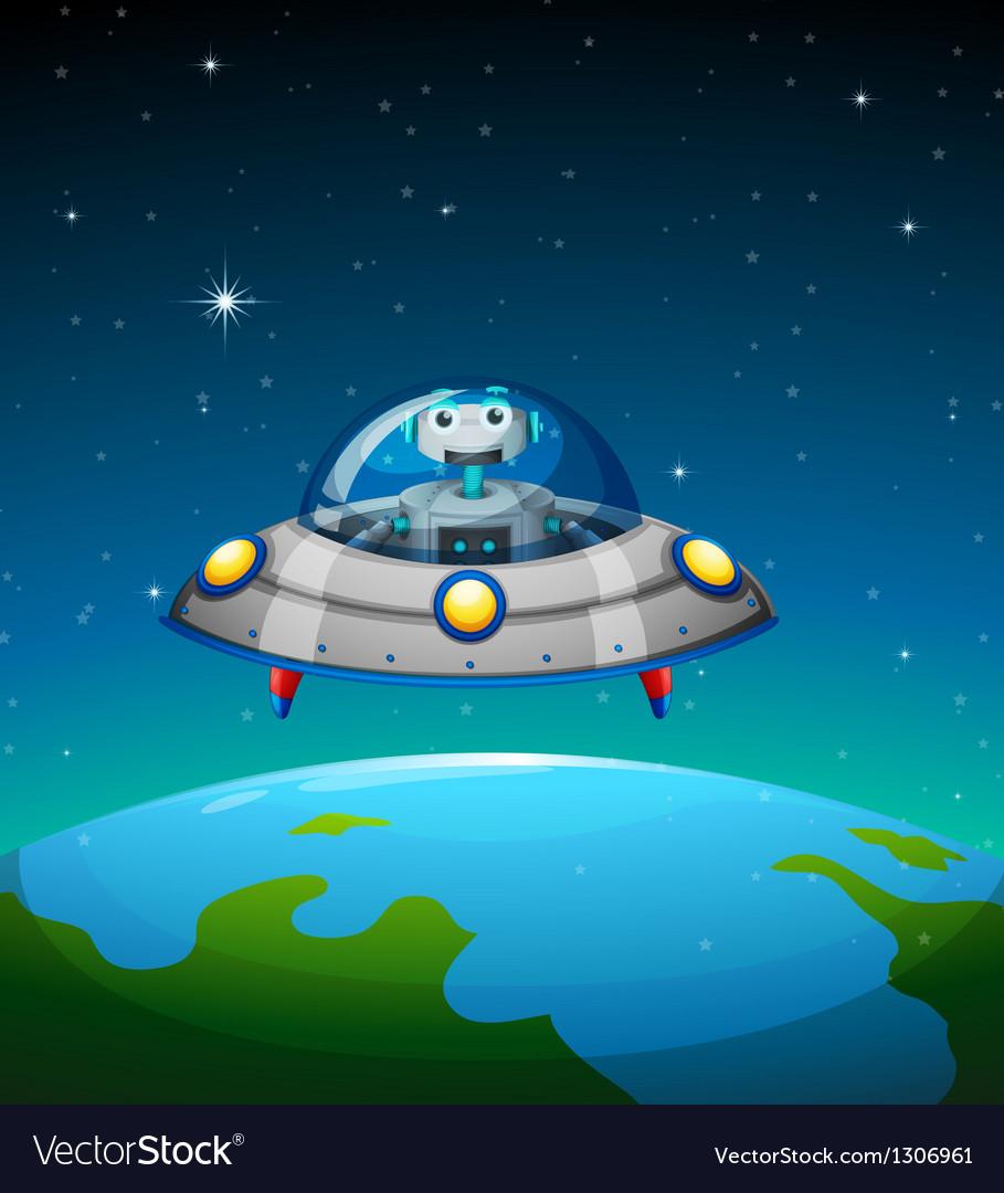 A robot inside the spaceship vector