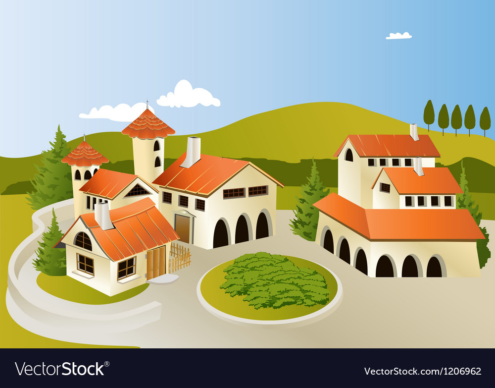 Cartoon old town vector
