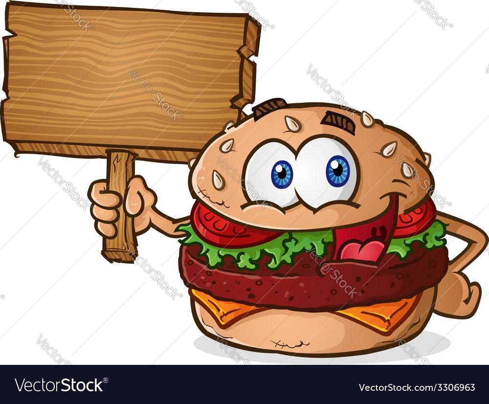Cheeseburger cartoon character holding a sign vector